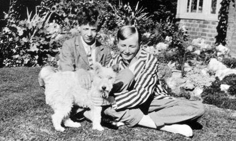 Benjamin Britten (left) in his garden in Lowestoft, Suffolk.Photograph: Britten-Pears Foundation Click through for an interesting article about Britten's early years.