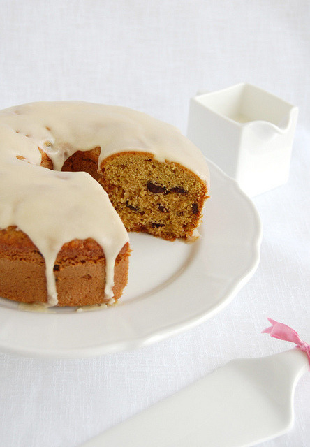 Brown Sugar and Chocolate Chip Pound Cake with Maple Glaze. &recipe here.