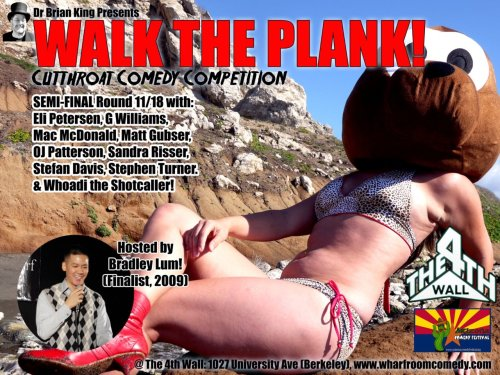 On Friday, I'm performing at The 4th Wall for the Walk the Plank Competition. Translation: PIZZA PARTY! Let me explain. Winner of the competition wins a nice sum of money and I vow to use a portion (if not all!) of the prize money to the Stomach Charity of You (it's a nom-nom-nom profit) I'm funny. That's swell and dandy, but competitions aren't just about being funny, it's about support. I'm Bay Raised, Berkeley is my second (or third) home, and there's a seal on the flier. I'd really appreciate you coming to help me win (or if sabotage is your thing, so be it). I'm keeping tabs on who is coming out to support and extra slices will be slid your way if I take the ultimate prize. WHO LOVES PIZZA?! WHO IN HERE IS A NINJA TURTLE?! HERE'S YOUR CHANCE TO PROVE IT! [Show Info: 11/18. The 4th Wall. 1027 University Ave. Berkeley. $15. 8 PM (Show up on time to be able to vote). Advanced Tickets: Here. Free CD with admission (your friends will think you're very cool, EVEN IF YOU AREN'T!)]
