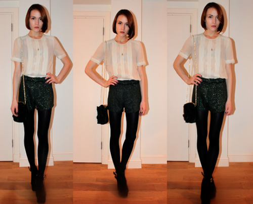 We adore this outfit! The pleated shirt adds nice structure, and the sequined shorts add a bit of fun! The best of both worlds. Paired with a chain purse, tights, and suede pumps, it's the perfect holiday outift!