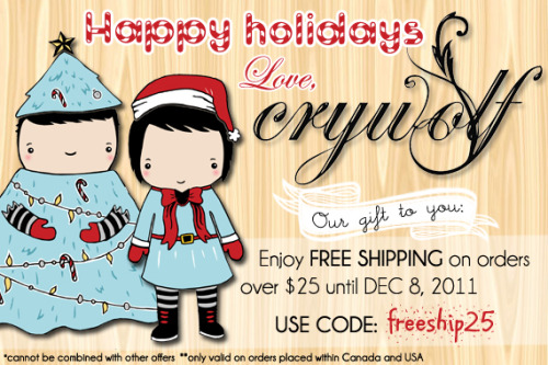 Free shipping for all Crywolf Clothing orders over $25 until December 8th, 2011!  *Use the promo code: freeship25