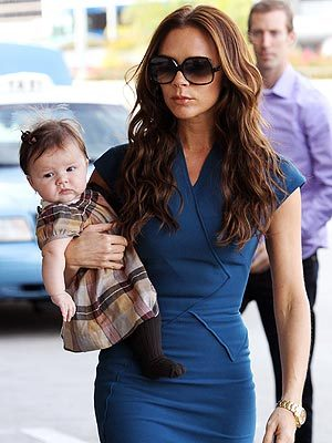 highchaircritics:  Spotted: Victoria Beckham and her adorable daughter, Harper.  She is already starting to take after her mother's style! (via People)   - Tattle Tot, Pop Culture