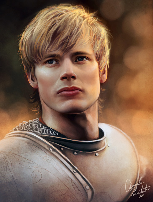 cosmicnerdangel:  Digital painting of Bradley James as King Arthur. I painted Colin as Merlin so I figured I should paint Arthur as well. Watch the video progress here.