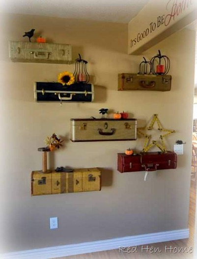 Vintage suitcase shelves!  These are amazing.  (via Red Hen Home: Making an Entrance)