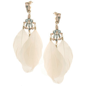 (via Asos Cream Feather Drop Earrings With Stone Detail - Polyvore )