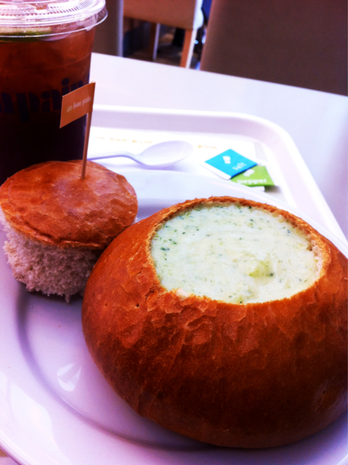 soup in a bread bowl: broccoli cream soup in a bread bowl served with iced lemon tea at Au Bon Pain