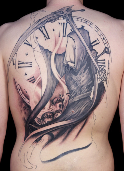 gravenimagetattoo:  Scott's black and gray Reaper backpiece in progress by Paco Dietz at Graven Image Tattoo