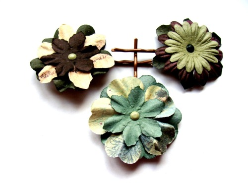 "Military chic hairpins!  These are made with flowers from the Prima ""Essentials - Moulin"" pack.  Love these colors - favorite Prima pack so far.  I may have to make some of these on a pin back for myself."