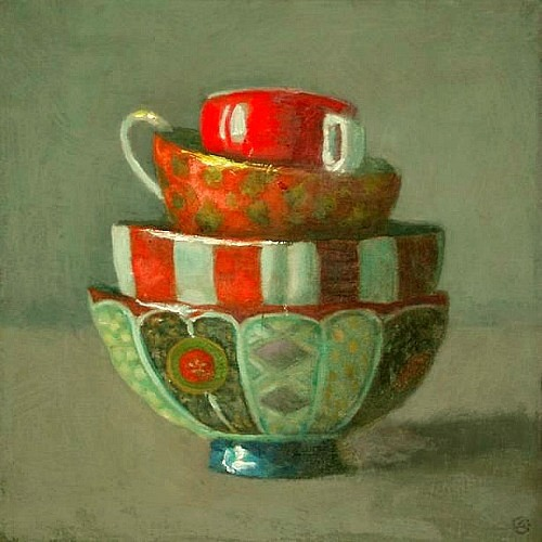 Olga Antonova Stacked Bowls with Red 21st century