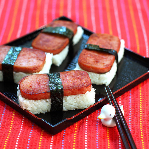 Is this sushi made out of spam?Indeed it is: Spam musubi via: pricefullife