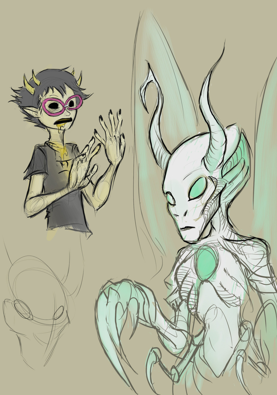 virgin-mother-grub:  clovvn:  quick doodles I like Kanayas lusus  HOW HAVE I NOT SEEN THIS?????????This is really great on my god that Mother Grub owns