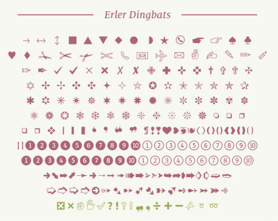 Erler Dingbats was released last week. It consists of over 800 symbols across 12 fonts - and modernises the Dingbats we know an love for today's age. It's also free! Take a look and download it here.