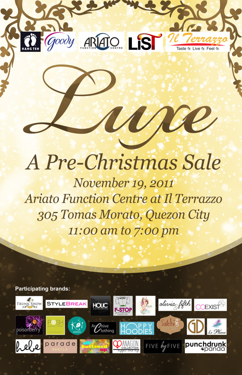 Find us at the Luxe Bazaar at the Il Terrazo in Tomas Morato this Saturday, Nov. 19! See you there :D