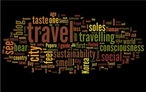 The wordle of my blog. A visual representation of the most frequently used words in all my posts.