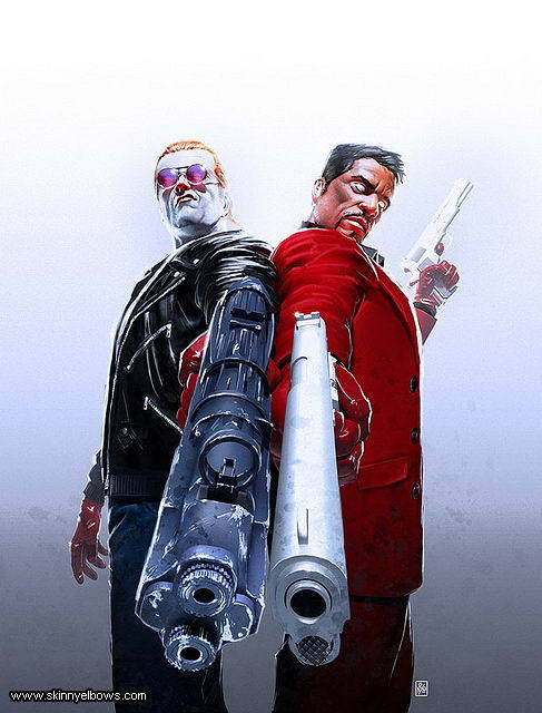 backtobass:  Sinister and Dexter:  badass  They are indeed and shooting you in the nuts, one each. Art by Neil Roberts.