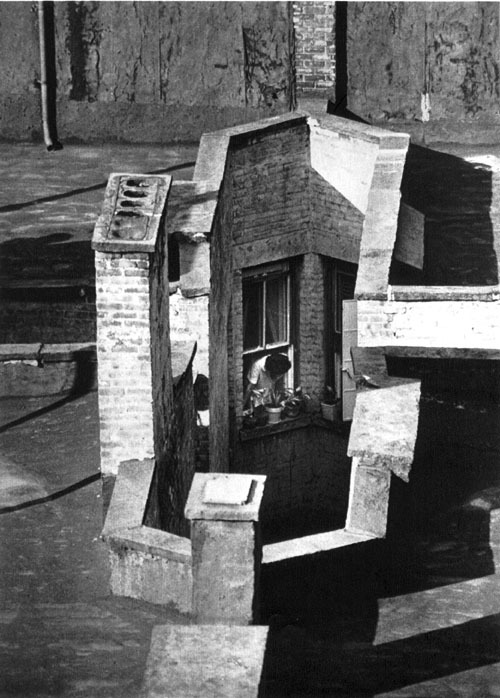 wonderfulambiguity:  André Kertész, Woman in Window Looking Down Air Shaft, 23rd Street, New York, 1970