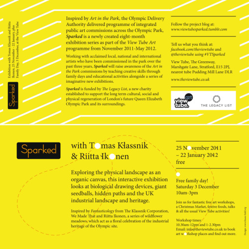 Our new flyer for the first Sparked exhibition with Tomas Klassnik and Riitta Ikonen, which opens on 25 November 2011.