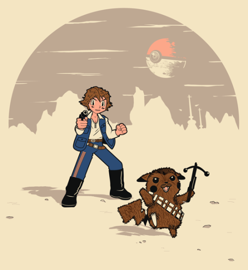 justinrampage:  The Pokemon and Star Wars Galaxies get rolled up into one rad pokeball shirt design thanks to David Staffell. Vote it up at Threadless to see it print! Ash Solo's first shot was super effective! Pikachewie, I choose you! by David Staffell (Tumblr) (Twitter)