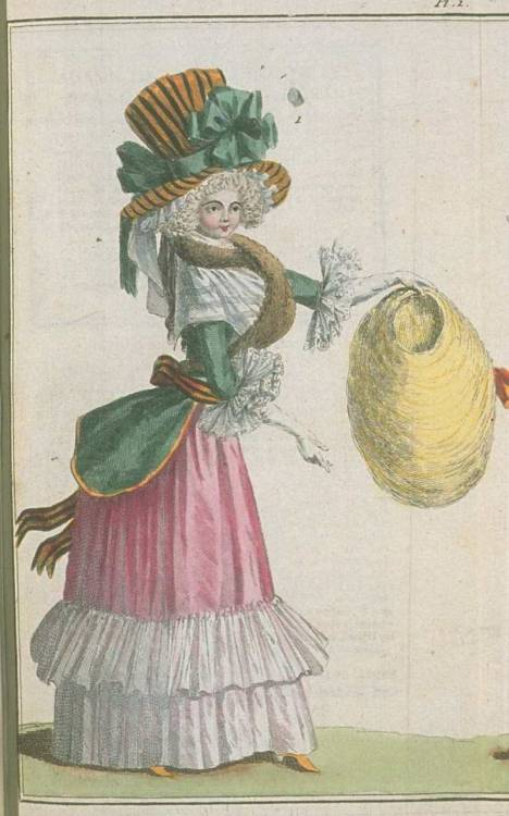 Magasin des Modes, December 1787.  The attack of the comically enormous accessories!