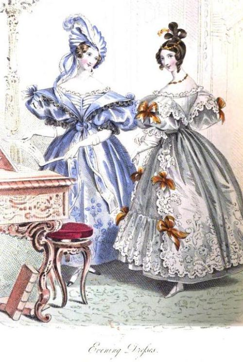 La Belle Assemblee, Evening Dress, March 1834.  The girl in blue has a very interesting turban!