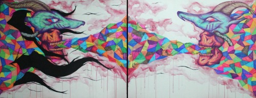 "deadly romance | watercolor, acrylic, marker on canvas | 130"" x 100"" (2 panel) 