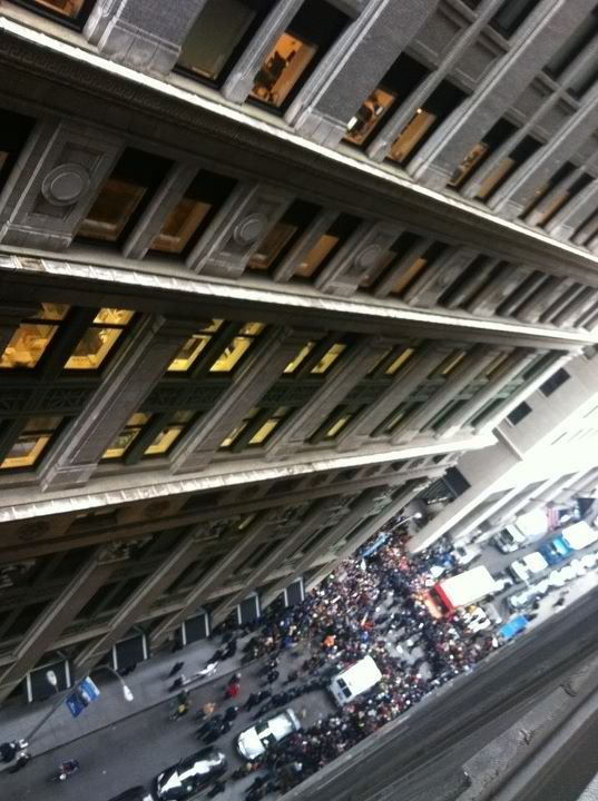 view of the first wave of OWSers trying to start occupying actual Wall Street this morning. This afternoon, to celebrate the two month anniversary of their strike, the #ows is going to shut down the subways, effectively fucking the rest of the 99%ers in NYC. A better plan would be to shut down limo services dontchathink?