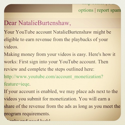 Earning money from YouTube. Happy days :) (Taken with instagram)