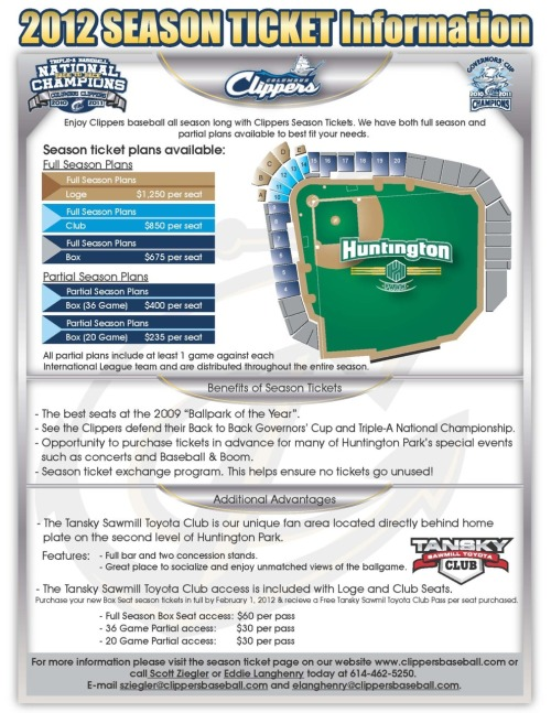 Detailed information about 2012 season tickets