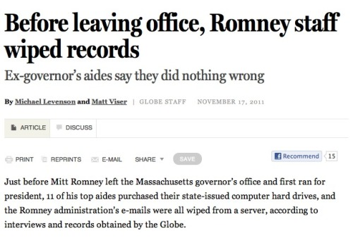 "Romney staff facing heat over deleted e-mails: ""The governor's office has found no e-mails from 2002-2006 in our possession,"" says Mark Reilly, current governor Deval Patrick's chief legal counsel. What say you? Is the fact that Romney's gubernatorial staff actively flew in the face of transparency a big deal?"