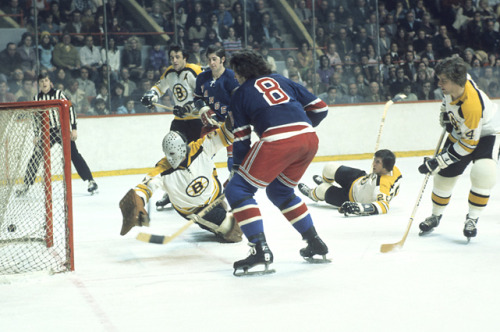 siphotos:  Rangers left wing Steve Vickers sneaks the puck past Bruins goalie Jacques Plante during a 1973 game at the Boston Garden. The Rangers have won seven straight, their longest winning streak since 1973. Meanwhile, the Bruins have won six straight and seem to be over their Stanley Cup hangover. (Tony Triolo/SI) POWER RANKINGS: Find out where the Rangers and Bruins stack upGALLERY: Iconic photos of the Bruins | Adventures of Sean Avery