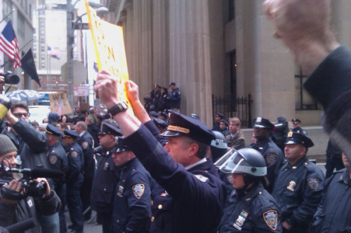 peterfeld:  rachelfershleiser:  Police captain Ray Lewis from Phily protesting w #OccupyWallStreet (via Twitpic)  that's an amazing image.  Yeah, that is an iconic image there.