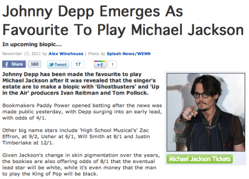 Johnny Depp as Michael Jackson? That's what a couple of bookies say. Sure, why not? Can he also play the tooth fairy?