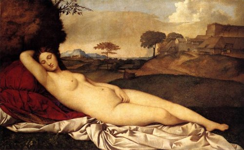 "Giorgione, Sleeping Venus, 1510 This painting has been credited with actually started the whole genre of ""reclining nudes"" thing. So you can thank Giorgione and his master brushwork for all of those sexy reclining ladies."