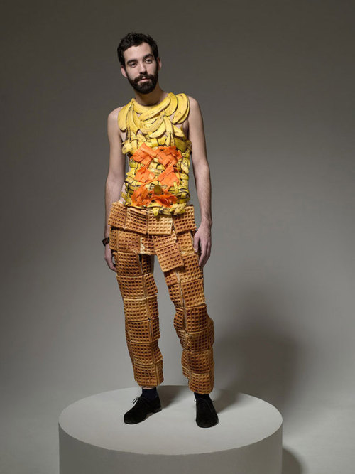 "myodetofood:  Hunger Pains by Ted Sabaese.""Each model's clothing in the series was made entirely of real food and depicts a meal that the person was craving."""