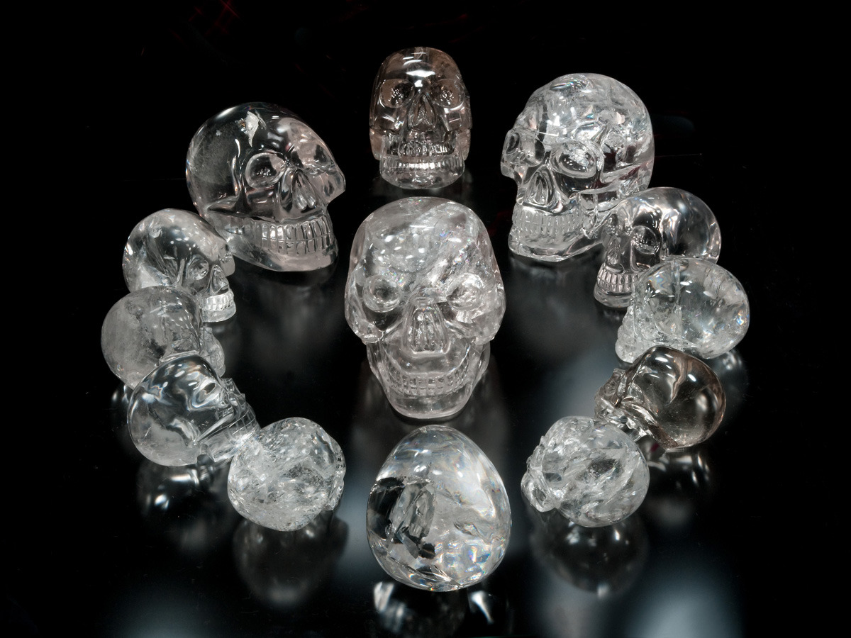 asiesserunmexicano:  Crystal skulls are a metaphor that reality is a consciousness hologram through which we experience virtually. Many of the s=crystal skulls are tools that awaken human consciousness, referenced by the human brain design of the crystal and the metaphoric eyes. A crystal skull is a model of a human skull generally made out of quartz crystal, but not always, as in the case of Chinese jade skulls. Crystal skulls vary in size from a few inches to the size of a human head, or bigger. The age of a skull can be equated not so much to the year it was carved, or the place of origin, but to the age of the crystal from which it was created, some crystals being thousands of years old, while others are more contemporary. Crystal skulls are most often associated with ancient Mesoamerican cultures, especially the Maya which takes us to the Mayan Long Calendar and related prophecies. Humanity has always been on an esoteric journey to solve the mysteries of its creation linked to people and objects that allegedly contain higher powers, or can enhance those of the questor. Technology and the Internet help move consciousness to that place, with great precession, as if it was all part of a cosmic plan. We can sense the truth, soon to be revealed, about who we are and why we are here. The enigmatic crystal skulls have become another tool of divination to that end, crystals sometimes been thought of as having magical powers, as well as transmitters and receivers of energy. If you are reading this file, your soul is searching, in these prophetic times, for answers to the great mysteries of life … death … and rebirth. Many crystal skulls are designed at specific angles representing a union of sacred geometry and the nature of the quartz crystal used. In metaphysics, crystal skulls are used for ceremonial work, healing, energy work, and enhancing one's psychic abilities. Used for healing, we go to themes of self awareness and creating balance to opening psychic abilities to be able to understand the nature of human creation and evolution. Holding an object to exchange energies and/or receive messages with it, is called psychometry. To find messages while look at the inclusions within a quartz crystal, or crystal skull, is a form of divination called Scrying. There are countless hypotheses that the crystal skulls are the legacy of some higher intelligence or ancient astronauts who seeded the human race. There are many theories linked to the Principle of 12 around 1 or 13 = 4 (time, closure): Crystal skull grid matrix Zodiac Clock Jesus and his disciples Tribes of Israel King Arthur and 12 knights of the round table Core group of 12 creator gods or aliens from who everything in this reality stems 13 takes us to the closure of our biogenetic experiment at this level of reality, created in linear time to understand emotions. December 21, 2012 is allegedly the time for the evolution of consciousness foretold in all prophecies, when humanity awakens and souls return to 'source' as this program closes. In third dimension, there will always be 12 or 3. Taken further we have the Fibonacci Sequence, published in 1202, and further on to the patterns of sacred geometry that explain the movement of human consciousness through time. There are allegedly 12 pyramids or 12 portals, or 12 major power points on the Earth grid that are strategically placed and will activate when consciousness reaches Zero Point - reversed Fibonacci to zero. Some also see 12 UFO's buried in the beginning, that will rise at the end of time. Whant to learn More, Come Back Tomorrow