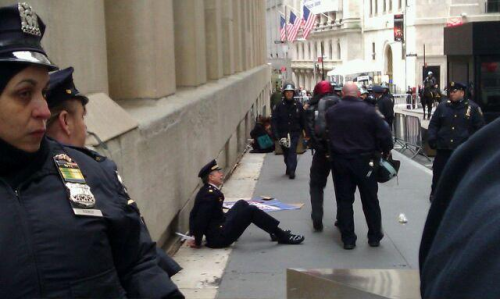 Retired Philly Police Captain Ray Lewis arrested at #OWS this morning participating in civil disobedience.   Photo by Lauren Thorpe