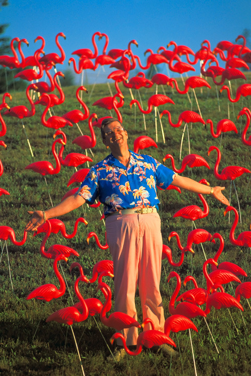 Don Featherstone, designer of the first pink flamingo lawn ornament.