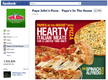 Papa Johns Pizza gained 1.5 million fans on Facebook through a competition: Whoever invented the best pizza got it seen put in the menu and gained a slice of the profits.