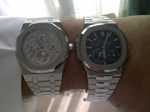 My two favourite Genta-hommage's, the Royal Oak Skeleton Perpetual and the Nautilus 5712.