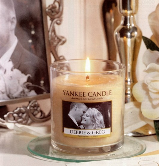 Yankee Candle offers personalized candles that can be great favors for a wedding.