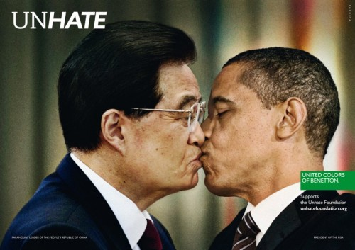 escapekit:  Benneton has a new campaign showing world leaders locking lips to support the UNHATE Foundation