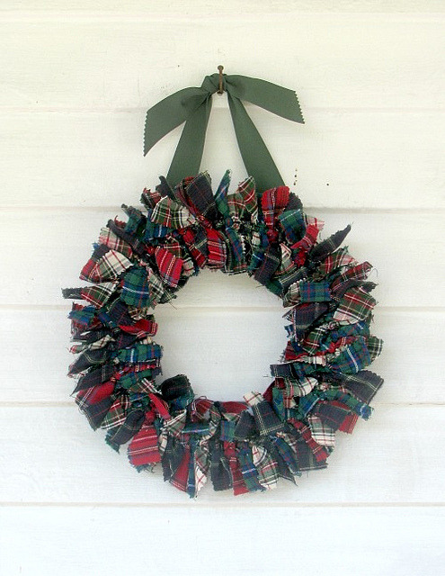 Tartan Plaid Patchwork Rag Wreath on Flickr.