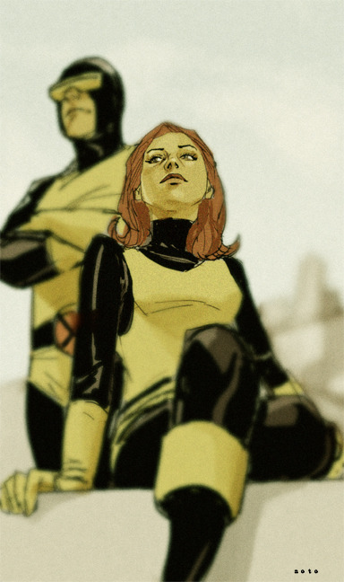 Jean Grey and Scott Summers 1968  Nice effect here, looks like Jean has been cutout..!