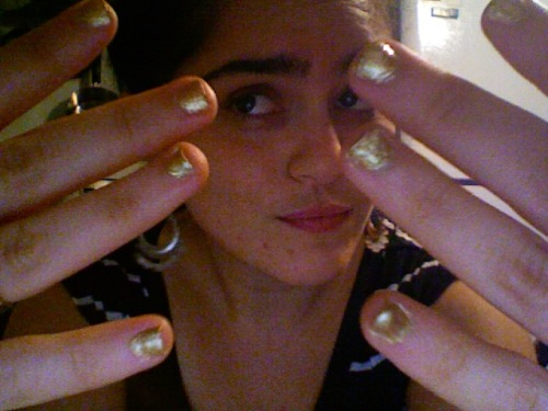 Just tried the OPI Shatter Gold Glitter…I didn't use the shatter aspect, I honestly just wanted gold nails and grabbed this without looking. I am loving the sparkle look!! (It