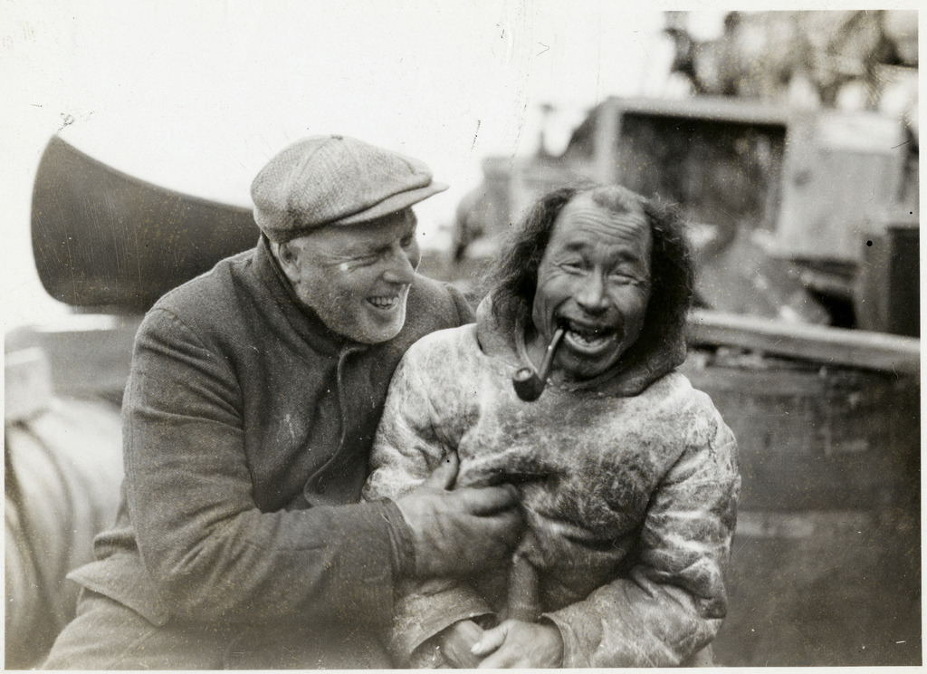 Bob Bartlett and local inhabitant aboard ship during Bartlett's Arctic Expedition, 1933 From the always incredible Flickr stream of the Smithsonian Institution. Check out Bob Bartlett's Wikipedia page for some more info on his adventures exploring the Arctic.
