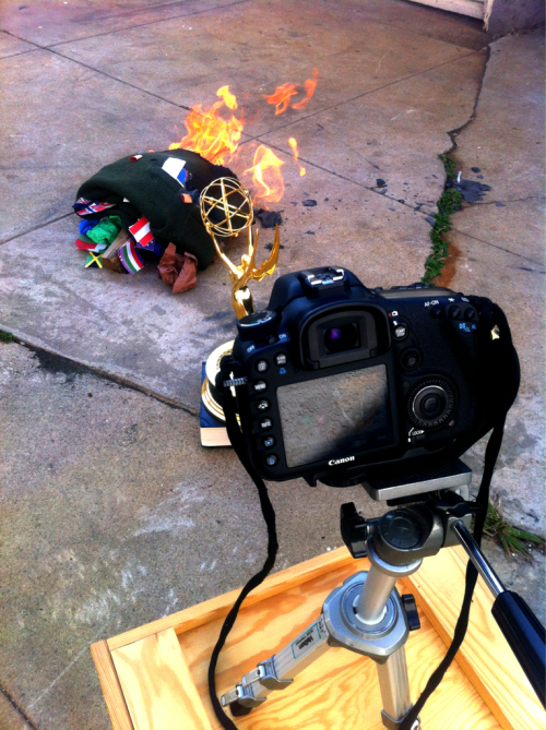 Shooting in Cris backyard with two Canon 7D's and an original Emmi.