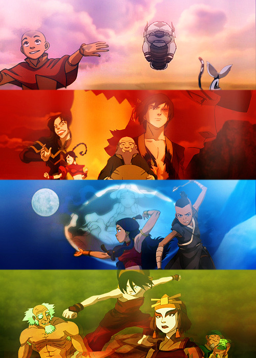 Fire is the element of power. The people of the Fire Nation have desire and will, and the energy and drive to achieve what they want. Earth is the element of substance. The people of the Earth Kingdom are diverse and strong. They are persistent and enduring.Air is the element of freedom. The Air Nomads detached themselves from worldy concerns and found peace and freedom. Also, they apparently had pretty good senses of humor!Water is the element of change. The people of the Water Tribe are capable of adapting to many things. They have a deep sense of community and love that holds them together through anything.It is important to draw wisdom from many different places. If we take it from only one place, it becomes rigid and stale. Understanding others, the other elements, and the other nations will help you become whole.
