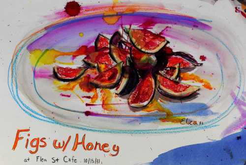 I did this painting of the figs I had at Flea St. Cafe.  You can read more about them here