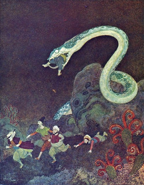 Edmund Dulac. A Serbian Fairy Tale: The episode of the Snake (France, c.1914).