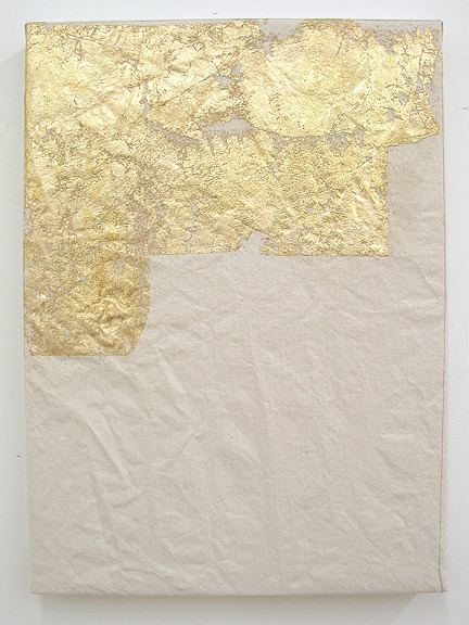 "Carrie Pollack Present 3, 2010 Gold Leaf on Canvas, 20""x28"""